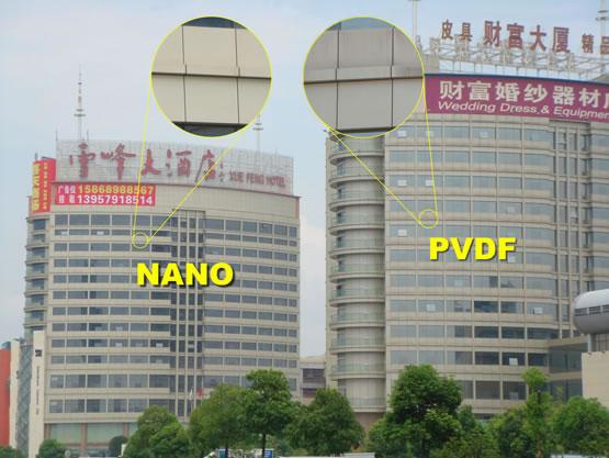 纳米PVDF氟碳铝单板与普通PVDF氟碳铝单板对比